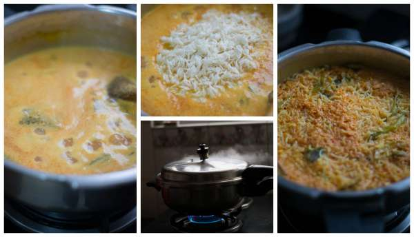 Tomato-Rice-with-Coconut-Milk-in-Pressure Cooker-steam