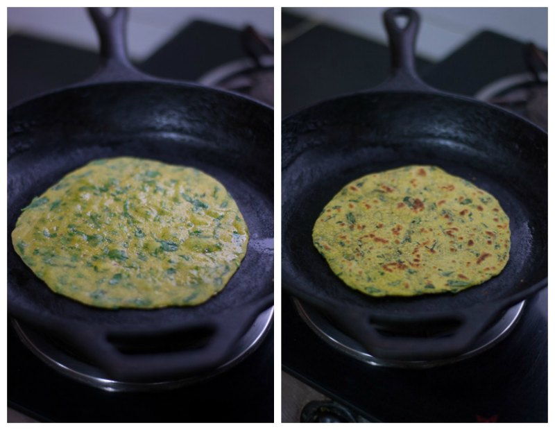 Gujarati-methi-thepla-recipe-flip-cook