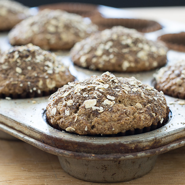 Healthy-No-Butter-Whole-Grain-Oat-Muffins-recipe-3 |kannammacooks.com #wholegrain #oats #brownsugar #nobutter #joanne #chang #flour #bakery