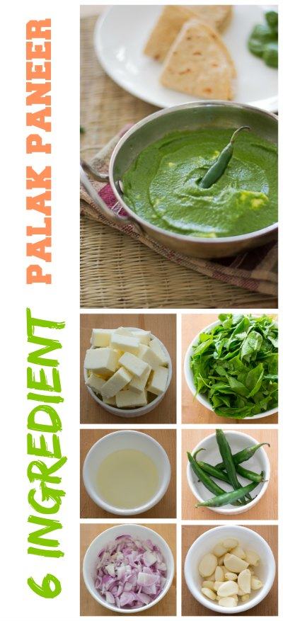 Indian-palak-paneer-recipe-spinach-curry-with-cheese-6-ingredients-pin |kannammacooks.com #palak #spinach #six #ingredient #easy #healthy #quick #cheese #curry #everyday #lunch #indian