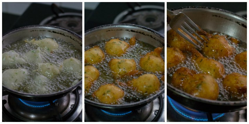mangalore-bonda-maida-bonda-flour-bajji-goli-baje-recipe-preparation-oil-fry |kannammacooks.com #hush #puppies #south #indian #mangalore #bonda #bajji #tea #time #snack #deep #fried #yummy #fritters
