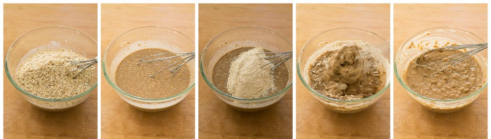 step-3-Healthy-No-Butter-Whole-Grain-Oat-Muffins-recipe |kannammacooks.com #wholegrain #oats #brownsugar #nobutter #joanne #chang #flour #bakery
