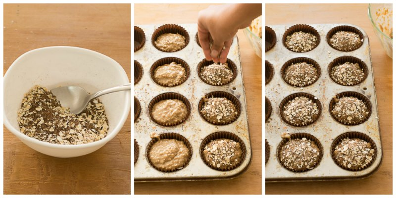step-4-Healthy-No-Butter-Whole-Grain-Oat-Muffins-recipe |kannammacooks.com #wholegrain #oats #brownsugar #nobutter #joanne #chang #flour #bakery
