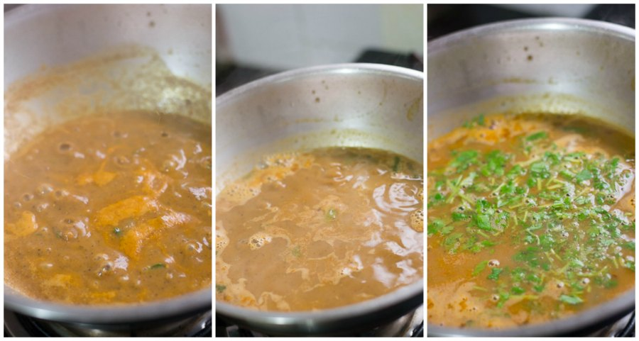 tamil-kollu-paruppu-rasam-horsegram-rasam-ulavacharu-for weight-loss-for-cold-medicine-soup-coriander-simmer |kannammacooks.com #cold #medicine #soup #for #weightloss #kollu #ulavalu #horsegram #nutrient #rich #lentil #soup