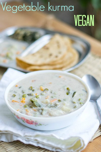 white-vegetable-korma-vellai-kurma-parotta-kuruma-south-indian-hotel-restaurant-style-stew |kannammacooks.com #kurma #korma #stew #easy #recipe #vellai #white #tamilnadu #hotel #style #stew #side #dish #chapati
